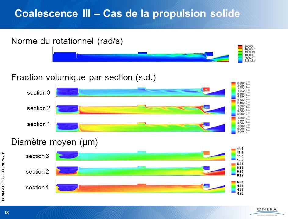 DOISNEAU DEFA – JDD ONERA 2011 18 Norme du rotationnel (rad/s) section 3 section 2 section 1 section 3 section 2 section 1 Coalescence III – Cas de la