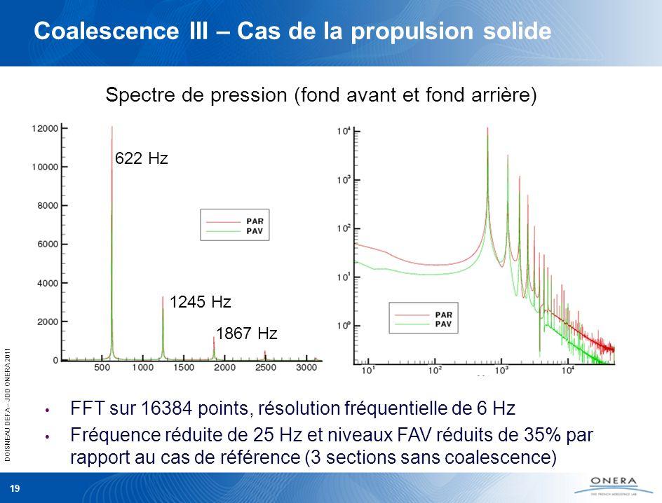 DOISNEAU DEFA – JDD ONERA 2011 19 Spectre de pression (fond avant et fond arrière) 622 Hz 1245 Hz 1867 Hz FFT sur 16384 points, résolution fréquentiel