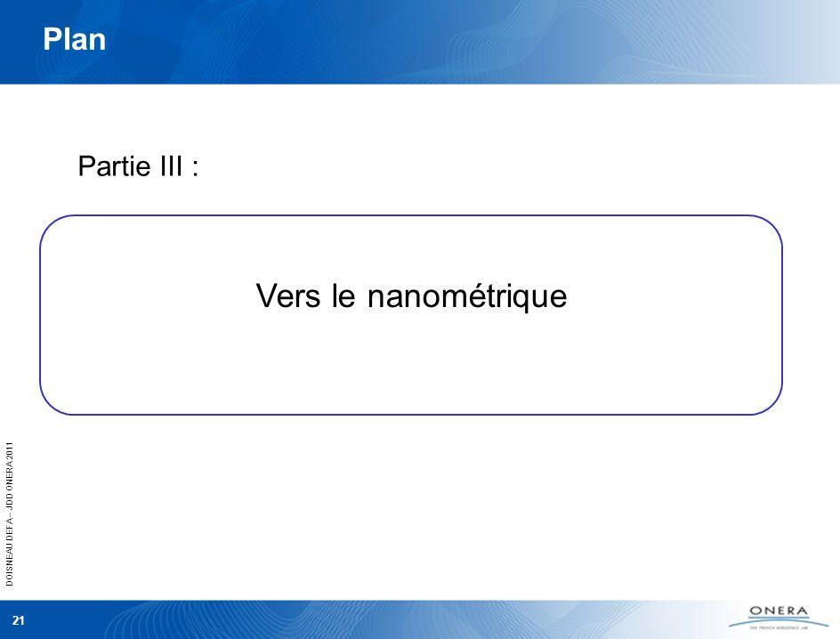 DOISNEAU DEFA – JDD ONERA 2011 21 Plan Partie III : Vers le nanométrique