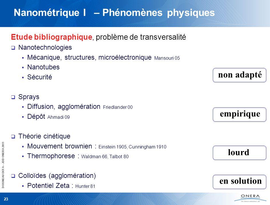 DOISNEAU DEFA – JDD ONERA 2011 Nanométrique I – Phénomènes physiques Etude bibliographique, problème de transversalité Nanotechnologies Mécanique, str