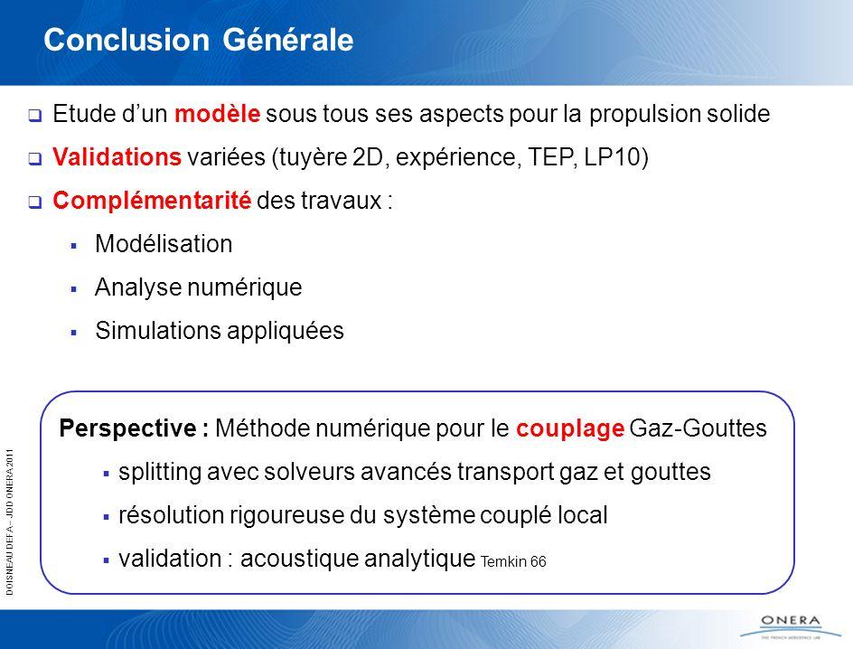 DOISNEAU DEFA – JDD ONERA 2011 Conclusion Générale Etude dun modèle sous tous ses aspects pour la propulsion solide Validations variées (tuyère 2D, ex