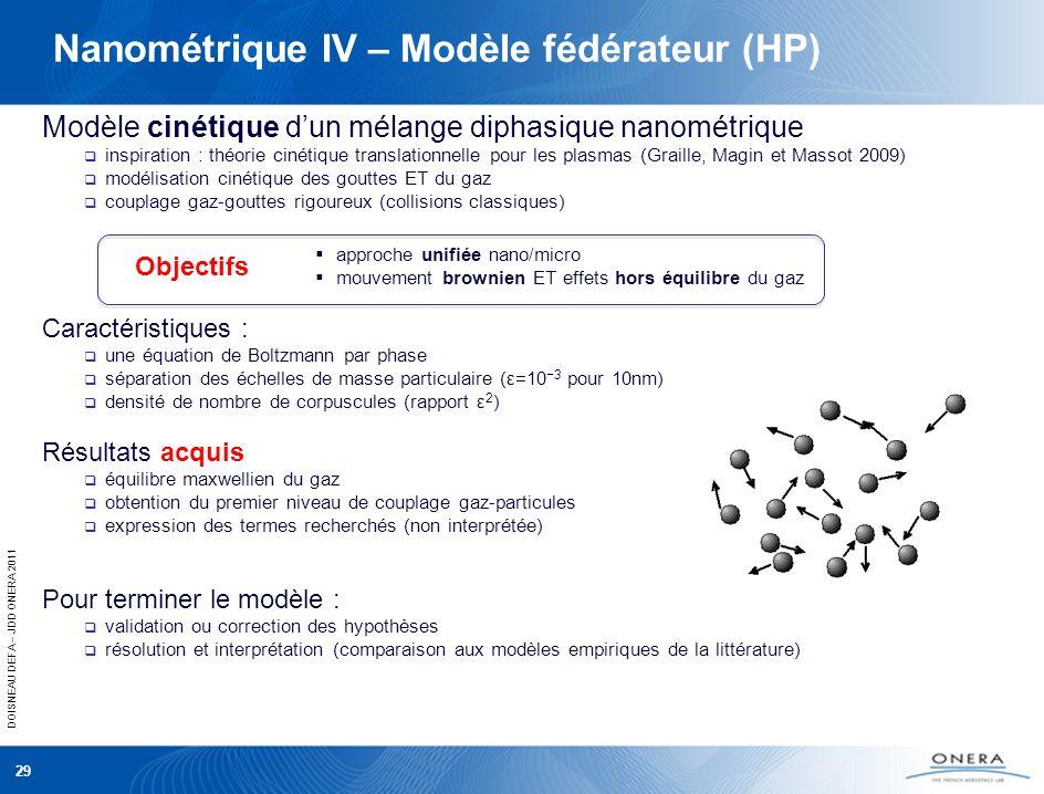 DOISNEAU DEFA – JDD ONERA 2011 Nanométrique IV – Modèle fédérateur (HP) Modèle cinétique dun mélange diphasique nanométrique inspiration : théorie cin