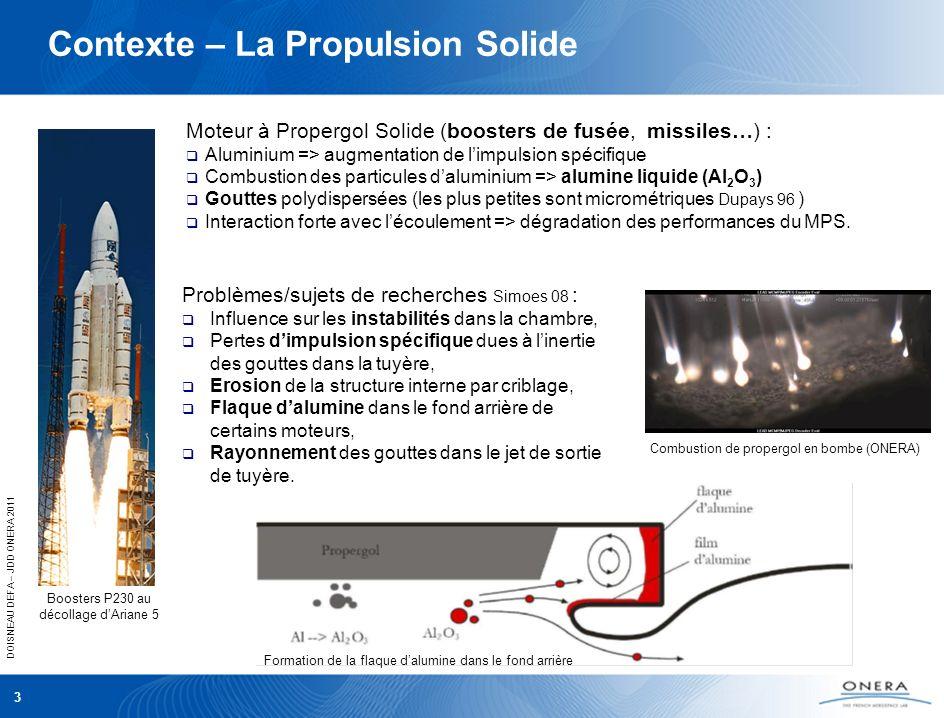 DOISNEAU DEFA – JDD ONERA 2011 3 Contexte – La Propulsion Solide Moteur à Propergol Solide (boosters de fusée, missiles…) : Aluminium => augmentation