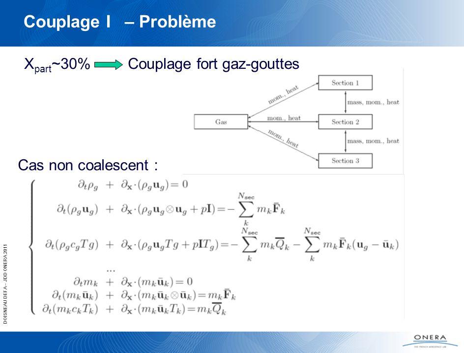 DOISNEAU DEFA – JDD ONERA 2011 Couplage I – Problème X part ~30% Couplage fort gaz-gouttes Cas non coalescent :