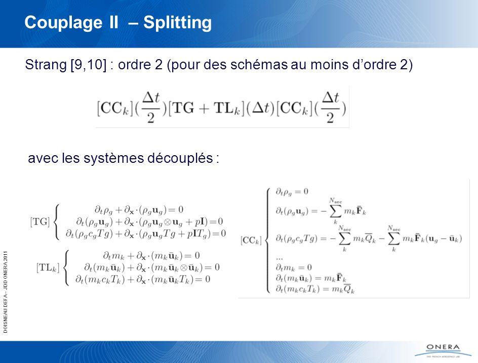 DOISNEAU DEFA – JDD ONERA 2011 Couplage II – Splitting Strang [9,10] : ordre 2 (pour des schémas au moins dordre 2) avec les systèmes découplés :