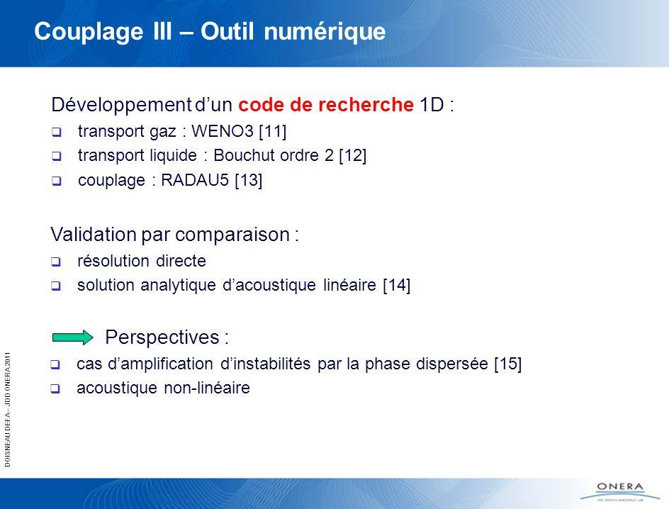 DOISNEAU DEFA – JDD ONERA 2011 Couplage III – Outil numérique Développement dun code de recherche 1D : transport gaz : WENO3 [11] transport liquide :
