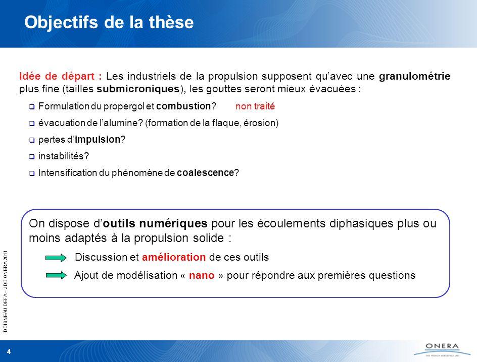 DOISNEAU DEFA – JDD ONERA 2011 4 Objectifs de la thèse Idée de départ : Les industriels de la propulsion supposent quavec une granulométrie plus fine