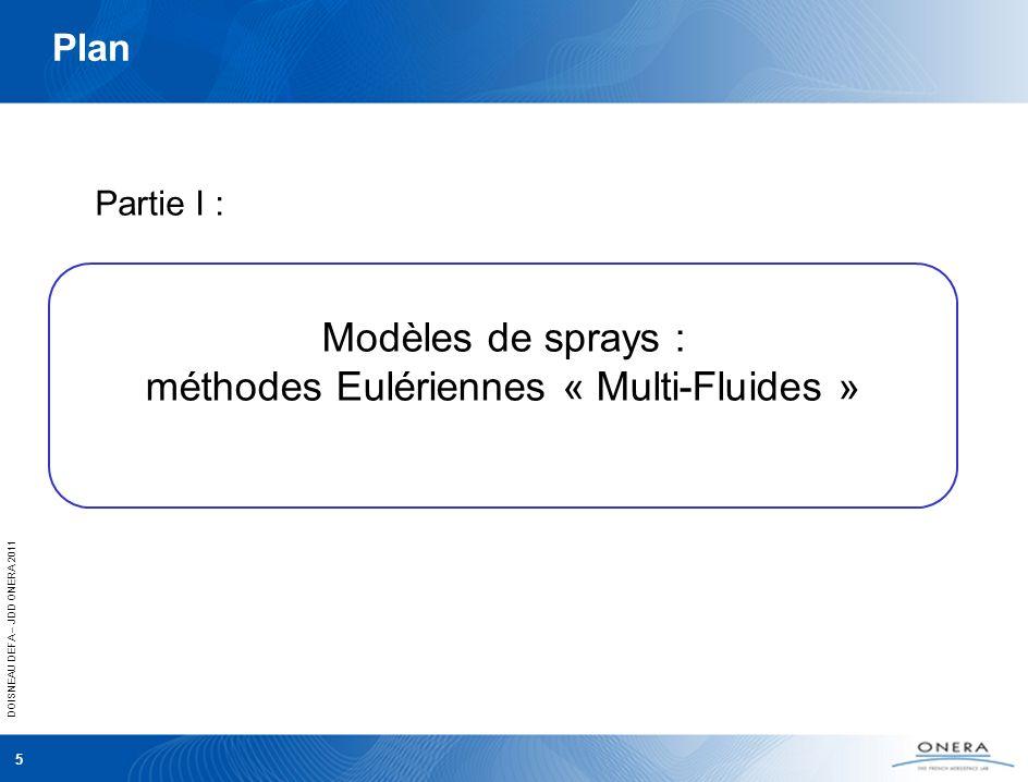 DOISNEAU DEFA – JDD ONERA 2011 5 Plan Partie I : Modèles de sprays : méthodes Eulériennes « Multi-Fluides »