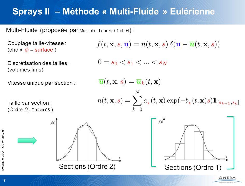 DOISNEAU DEFA – JDD ONERA 2011 Sprays II – Méthode « Multi-Fluide » Eulérienne 7 Couplage taille-vitesse : (choix = surface ) Discrétisation des taill