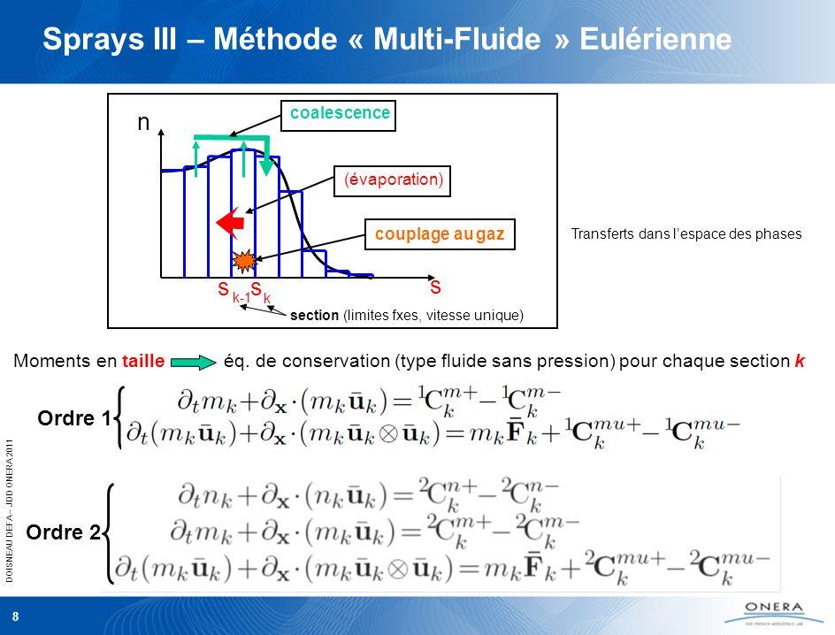DOISNEAU DEFA – JDD ONERA 2011 Moments en taille éq. de conservation (type fluide sans pression) pour chaque section k Sprays III – Méthode « Multi-Fl