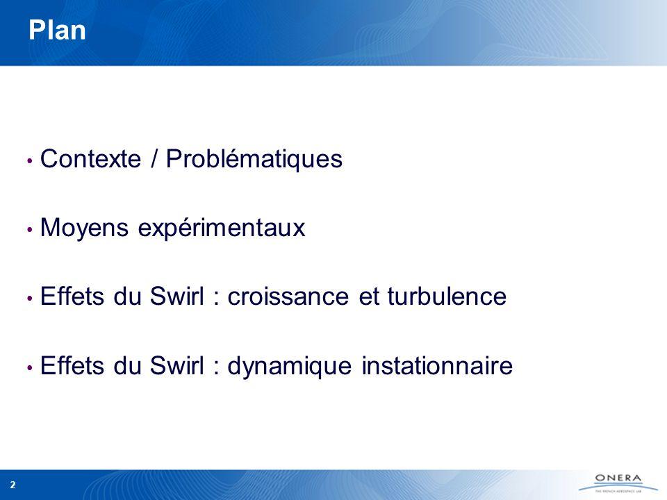 2 Plan Contexte / Problématiques Moyens expérimentaux Effets du Swirl : croissance et turbulence Effets du Swirl : dynamique instationnaire