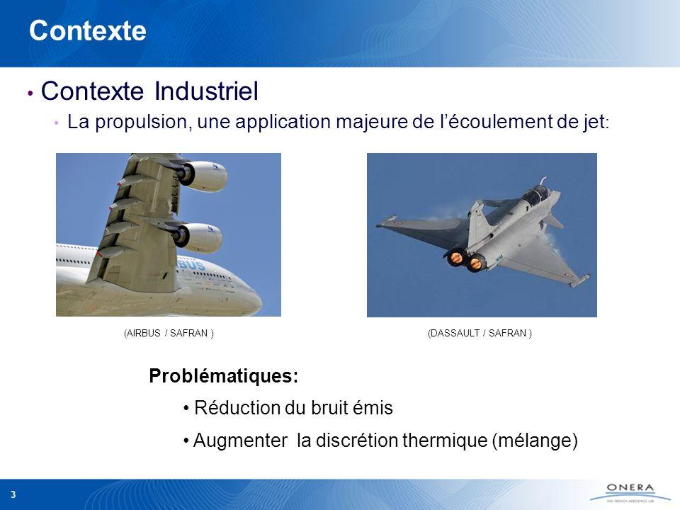 3 Contexte Contexte Industriel La propulsion, une application majeure de lécoulement de jet : Problématiques: Réduction du bruit émis Augmenter la dis