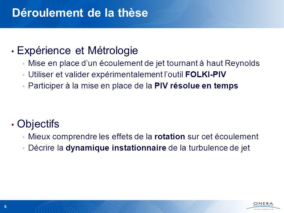 6 Déroulement de la thèse Expérience et Métrologie Mise en place dun écoulement de jet tournant à haut Reynolds Utiliser et valider expérimentalement