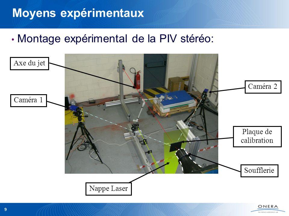 9 Moyens expérimentaux Montage expérimental de la PIV stéréo: Nappe Laser Soufflerie Plaque de calibration Caméra 2 Caméra 1 Axe du jet