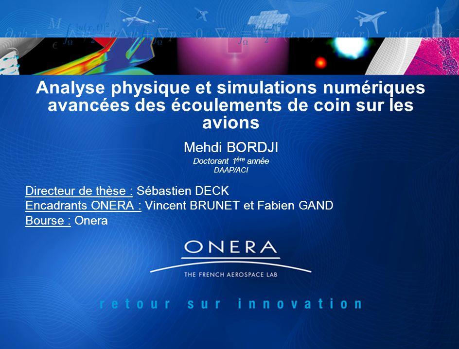 Analyse physique et simulations numériques avancées des écoulements de coin sur les avions Mehdi BORDJI Doctorant 1 ère année DAAP/ACI Directeur de th