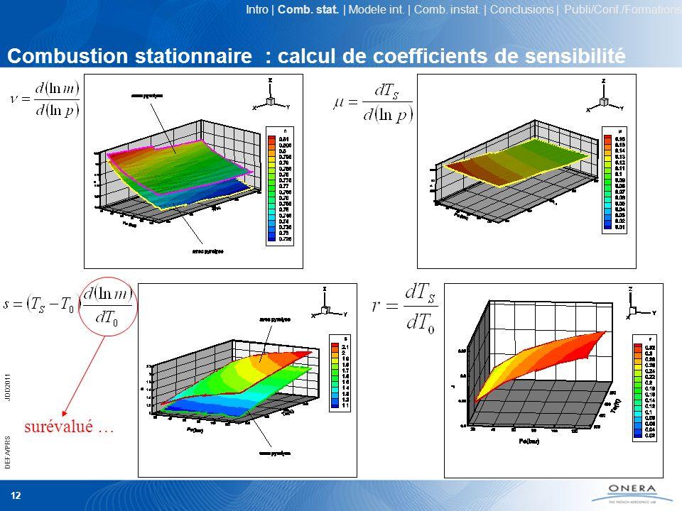 12 DEFA/PRSJDD2011 Combustion stationnaire : calcul de coefficients de sensibilité surévalué … Intro | Comb. stat. | Modele int. | Comb. instat. | Con