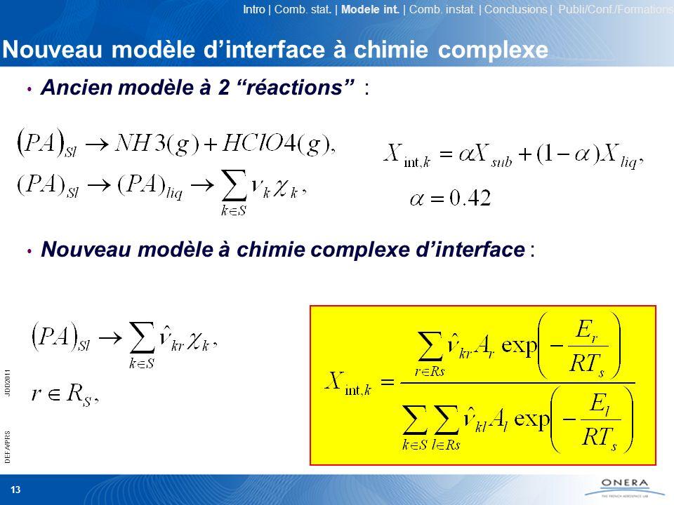 13 DEFA/PRSJDD2011 Nouveau modèle dinterface à chimie complexe Ancien modèle à 2 réactions : Nouveau modèle à chimie complexe dinterface : Intro | Com
