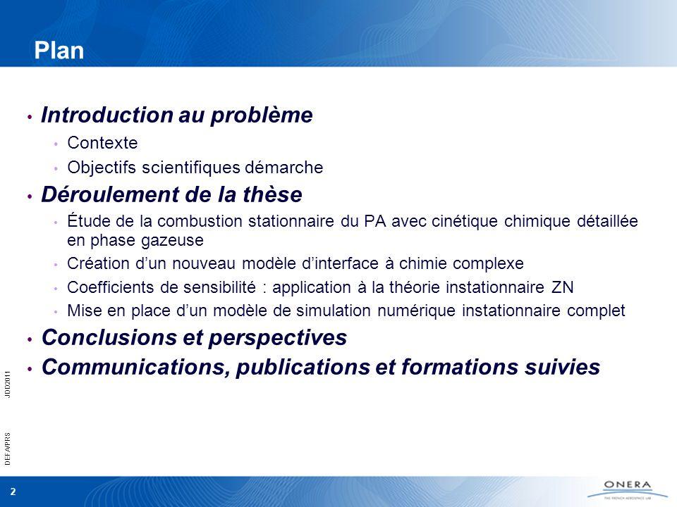 2 DEFA/PRSJDD2011 Plan Introduction au problème Contexte Objectifs scientifiques démarche Déroulement de la thèse Étude de la combustion stationnaire