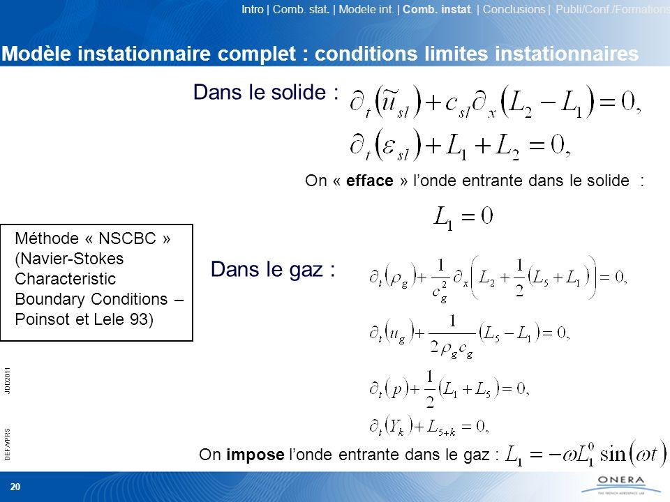 20 DEFA/PRSJDD2011 Modèle instationnaire complet : conditions limites instationnaires Dans le solide : Dans le gaz : On « efface » londe entrante dans