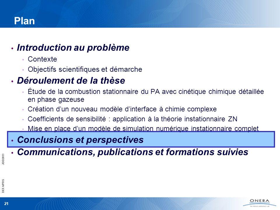 21 DEFA/PRSJDD2011 Plan Introduction au problème Contexte Objectifs scientifiques et démarche Déroulement de la thèse Étude de la combustion stationna