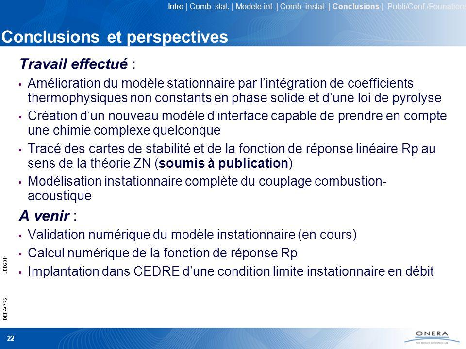 22 DEFA/PRSJDD2011 Conclusions et perspectives Travail effectué : Amélioration du modèle stationnaire par lintégration de coefficients thermophysiques