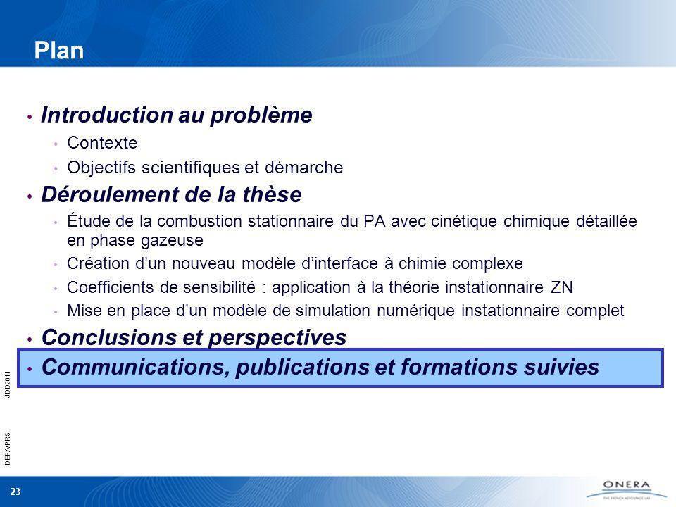 23 DEFA/PRSJDD2011 Plan Introduction au problème Contexte Objectifs scientifiques et démarche Déroulement de la thèse Étude de la combustion stationna