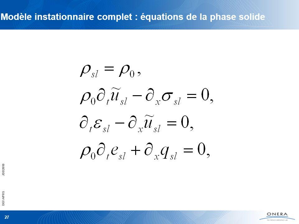DEFA/PRSJDD2010 27 Modèle instationnaire complet : équations de la phase solide