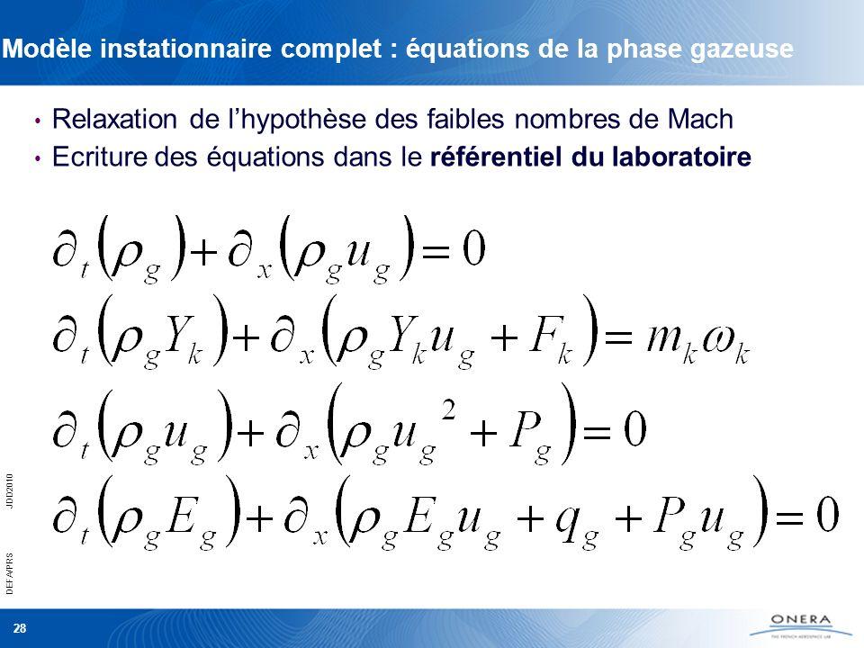 DEFA/PRSJDD2010 28 Modèle instationnaire complet : équations de la phase gazeuse Relaxation de lhypothèse des faibles nombres de Mach Ecriture des équ