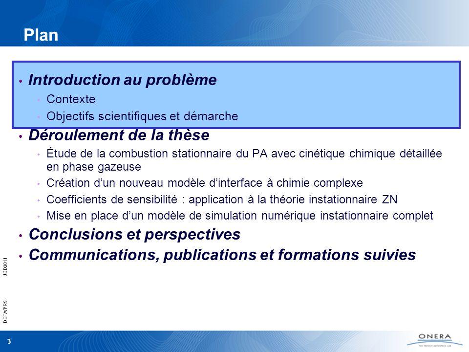 3 DEFA/PRSJDD2011 Plan Introduction au problème Contexte Objectifs scientifiques et démarche Déroulement de la thèse Étude de la combustion stationnai