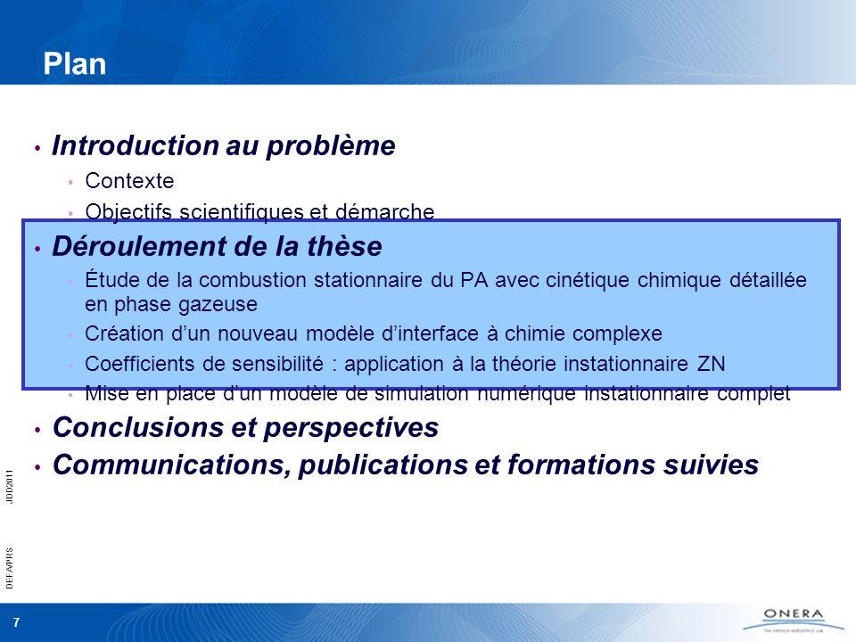 7 DEFA/PRSJDD2011 Plan Introduction au problème Contexte Objectifs scientifiques et démarche Déroulement de la thèse Étude de la combustion stationnai