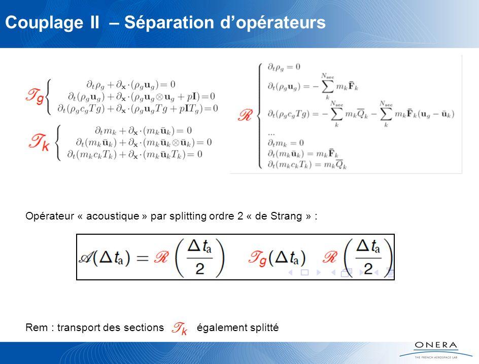 Couplage II – Séparation dopérateurs Opérateur « acoustique » par splitting ordre 2 « de Strang » : Rem : transport des sections également splitté