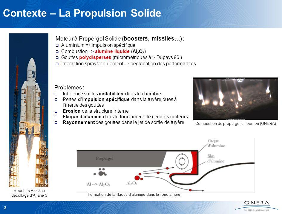 2 Contexte – La Propulsion Solide Moteur à Propergol Solide (boosters, missiles…) : Aluminium => impulsion spécifique Combustion => alumine liquide (A