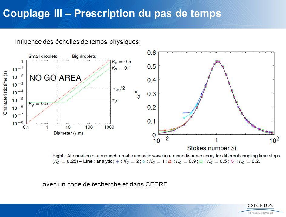 Couplage III – Prescription du pas de temps Influence des échelles de temps physiques: avec un code de recherche et dans CEDRE
