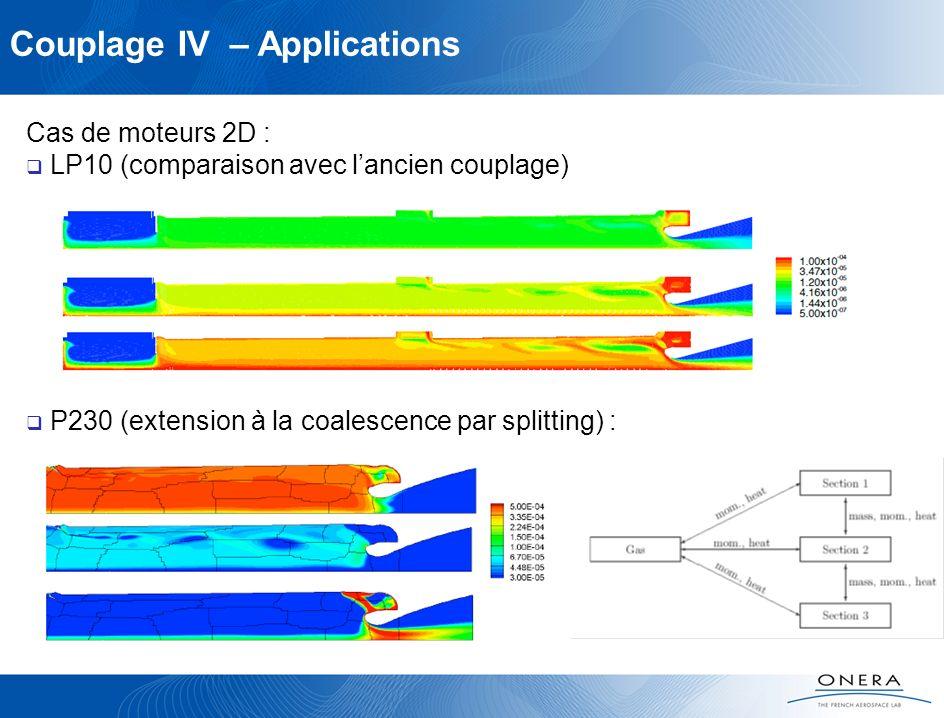 Couplage IV – Applications Cas de moteurs 2D : LP10 (comparaison avec lancien couplage) P230 (extension à la coalescence par splitting) :