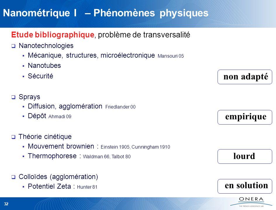 Nanométrique I – Phénomènes physiques Etude bibliographique, problème de transversalité Nanotechnologies Mécanique, structures, microélectronique Mans