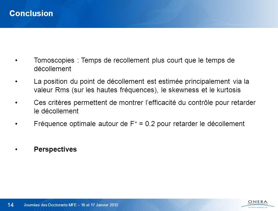14 Conclusion Tomoscopies : Temps de recollement plus court que le temps de décollement La position du point de décollement est estimée principalement