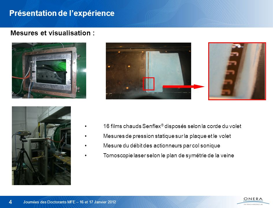 4 Présentation de lexpérience 16 films chauds Senflex ® disposés selon la corde du volet Mesures de pression statique sur la plaque et le volet Mesure