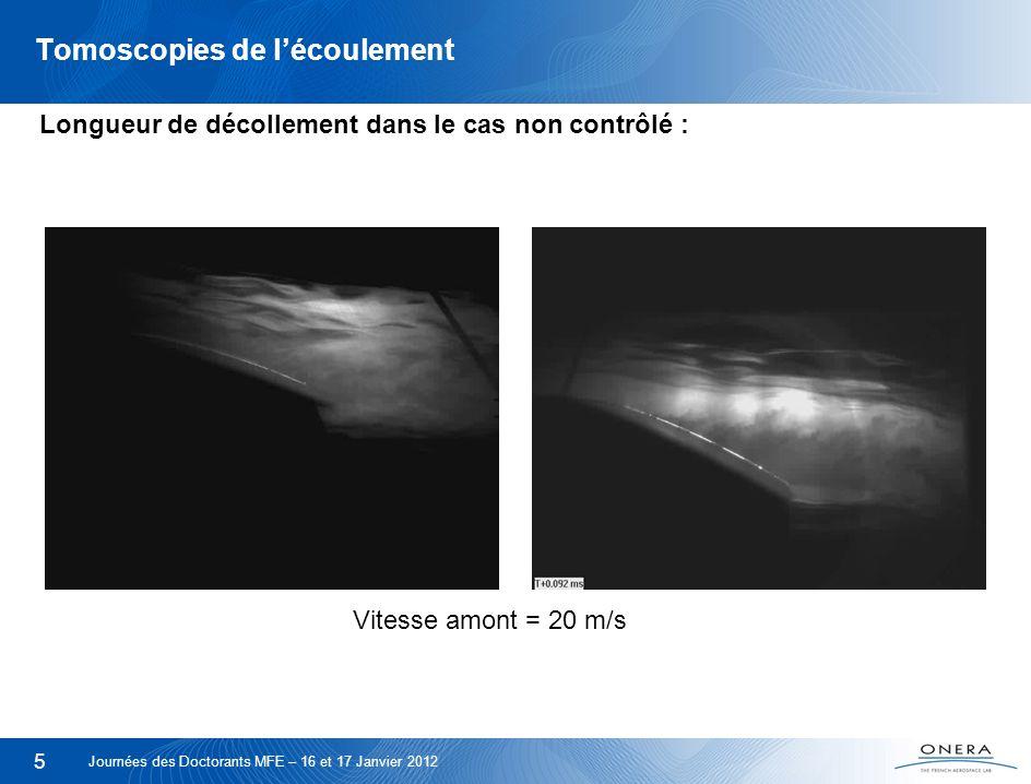 6 Tomoscopies de lécoulement Contrôle par soufflage continu à 35° : Vitesse amont = 20 m/s Journées des Doctorants MFE – 16 et 17 Janvier 2012
