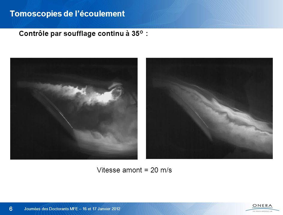 7 Tomoscopies de lécoulement Contrôle par soufflage pulsé à 35°: Vitesse amont = 20 m/s Journées des Doctorants MFE – 16 et 17 Janvier 2012