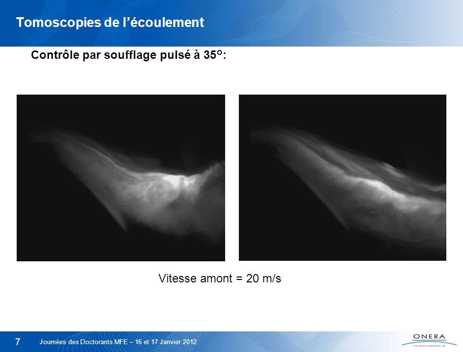 8 Profil de K P Recollement de lécoulement : Profils de C p tracé sur le volet pour différents angles de braquage Journées des Doctorants MFE – 16 et 17 Janvier 2012 Soufflage continu C μ = 1 %