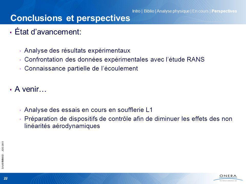 DAAP/MMHD - JDD 2011 22 Conclusions et perspectives État davancement: Analyse des résultats expérimentaux Confrontation des données expérimentales ave