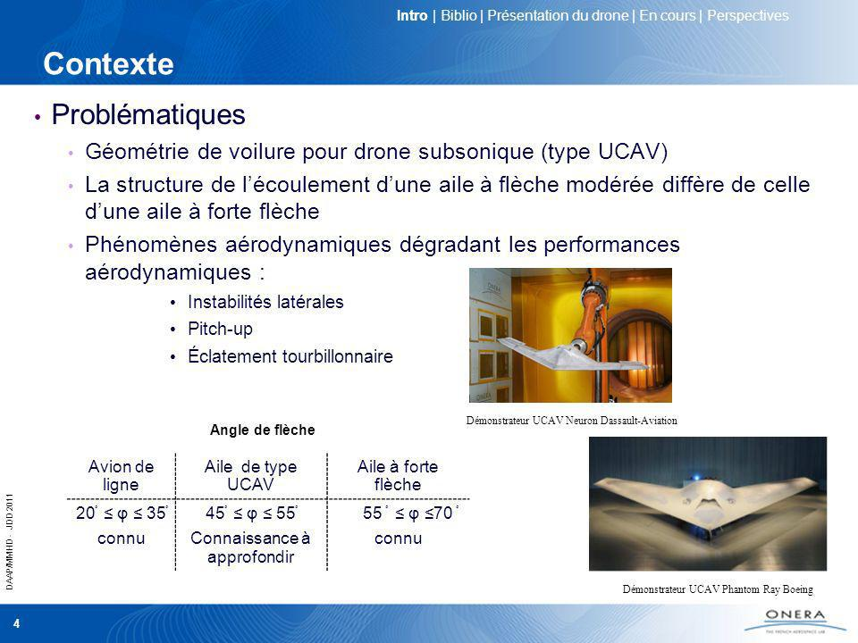 DAAP/MMHD - JDD 2011 5 Objectifs scientifiques Caractérisation de lécoulement Meilleure connaissance de la phénoménologie de lécoulement : naissance et développement des structures tourbillonnaires à lextrados dun UCAV générique Études expérimentales et numériques Contrôle de lécoulement aérodynamique Limiter les effets des non linéarités aérodynamiques Améliorer les performances aérodynamiques Objectifs scientifiques communs aux groupes RTO-AVT161/183 Amélioration de la manoeuvrabilité des drones Validation des codes de simulations numériques Intro | Biblio | Présentation du drone | En cours | Perspectives