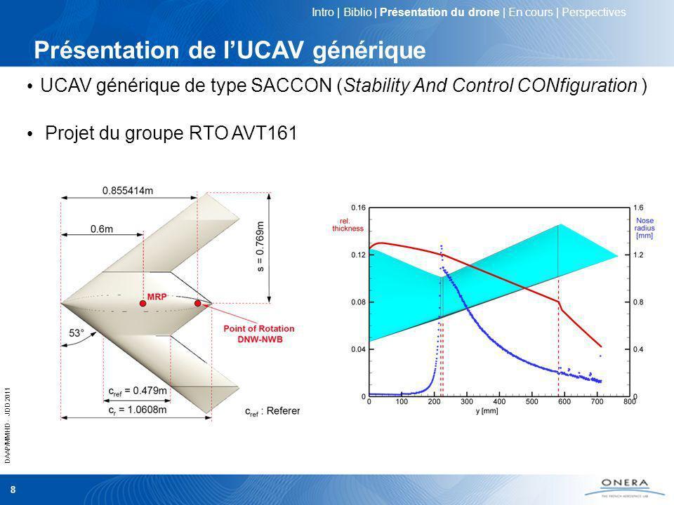 DAAP/MMHD - JDD 2011 8 Présentation de lUCAV générique UCAV générique de type SACCON (Stability And Control CONfiguration ) Projet du groupe RTO AVT16