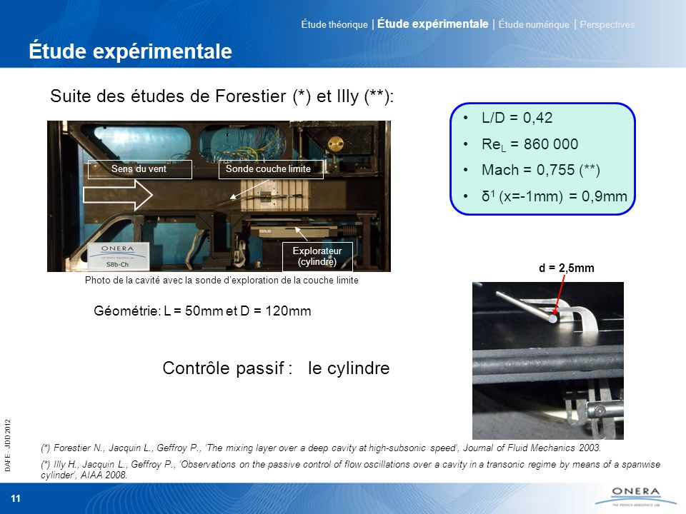 DAFE - JDD 2012 11 Étude expérimentale (*) Forestier N., Jacquin L., Geffroy P., The mixing layer over a deep cavity at high-subsonic speed, Journal o