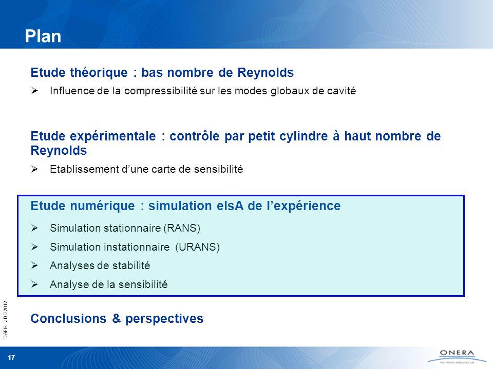 DAFE - JDD 2012 17 Influence de la compressibilité sur les modes globaux de cavité Etude théorique : bas nombre de Reynolds Etablissement dune carte d
