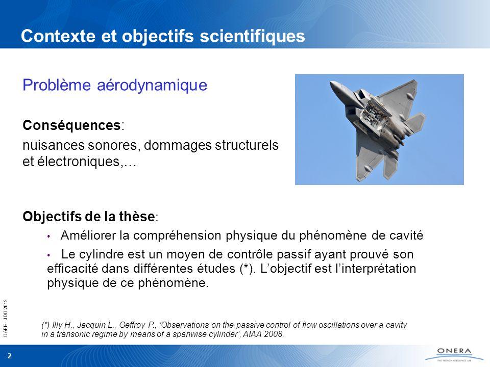 DAFE - JDD 2012 2 Contexte et objectifs scientifiques Conséquences: nuisances sonores, dommages structurels et électroniques,… Problème aérodynamique