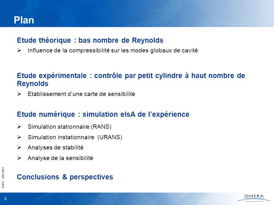 DAFE - JDD 2012 3 Influence de la compressibilité sur les modes globaux de cavité Etude théorique : bas nombre de Reynolds Etablissement dune carte de