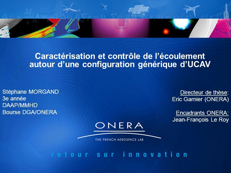 Caractérisation et contrôle de lécoulement autour dune configuration générique dUCAV Stéphane MORGAND 3e année DAAP/MMHD Bourse DGA/ONERA Directeur de