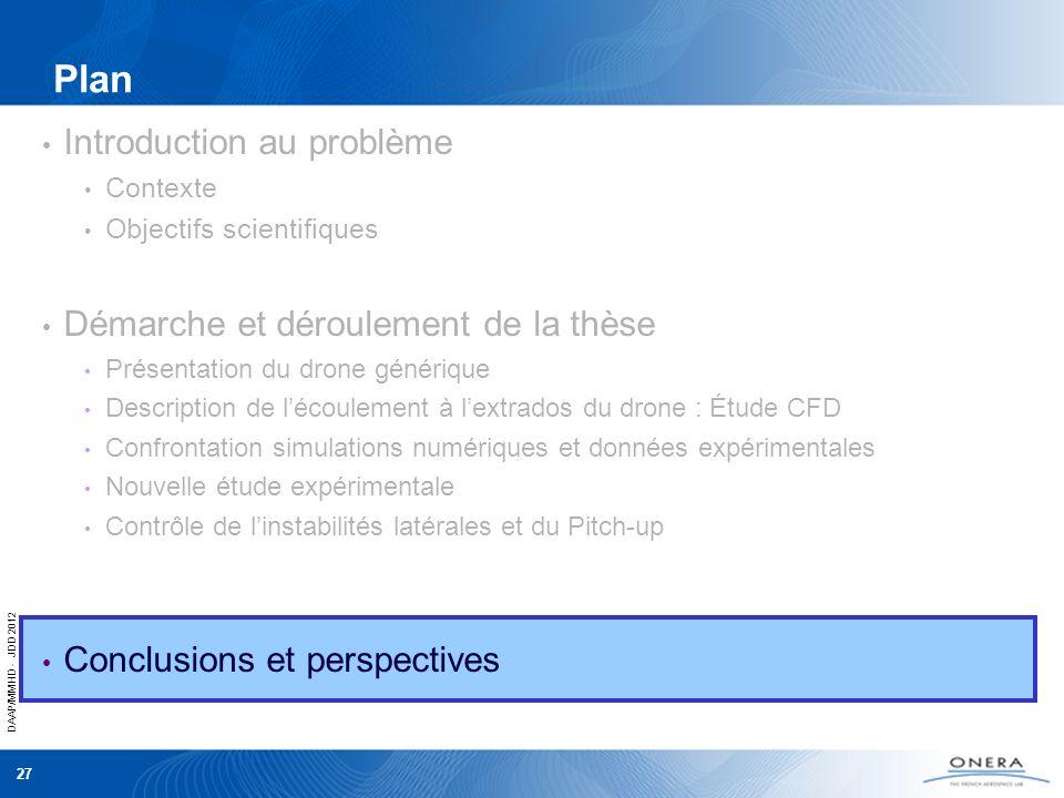 DAAP/MMHD - JDD 2012 27 Plan Introduction au problème Contexte Objectifs scientifiques Démarche et déroulement de la thèse Présentation du drone génér
