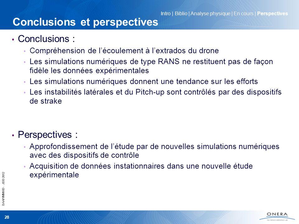 DAAP/MMHD - JDD 2012 28 Conclusions et perspectives Conclusions : Compréhension de lécoulement à lextrados du drone Les simulations numériques de type